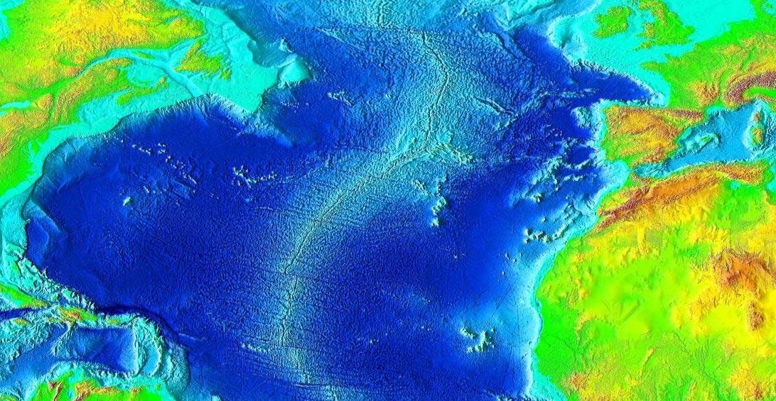 La carta batimetrica dell'Atlantico. durante l'ultima era glaciale, tutte le regioni in azzurro chiaro erano più o meno emerse.